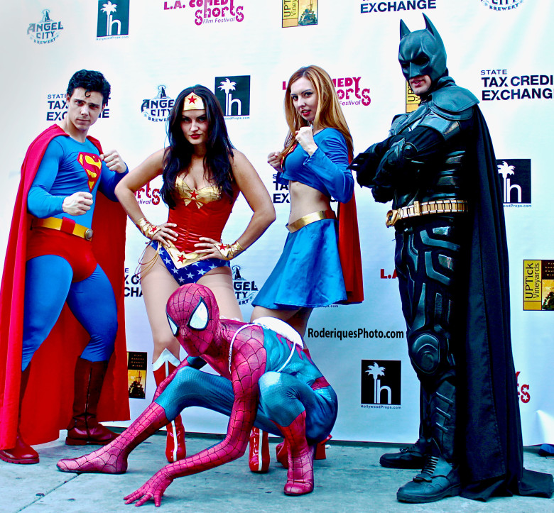 "We were greeted by the ""Super 'Funny Friends"" as we arrived on the red carpet Thursday, May 15th the the Downtown Independent Theatre for the UP, UP, AND AWAY: CELEBRITY OPENING NIGHT SCREENING"